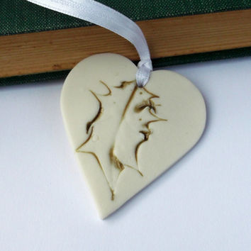 Hanging Heart Decoration Holly Motif - Handmade Porcelain Christmas Gift Idea