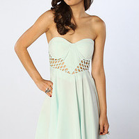 The Caged Up Dress in Mint