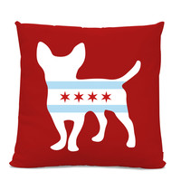 Chicago Flag Chihuahua Pillow - Chicago Home Decor - Chihuahua pillow - dog breed silhouette pillow - dog home decor - Dog Pillow