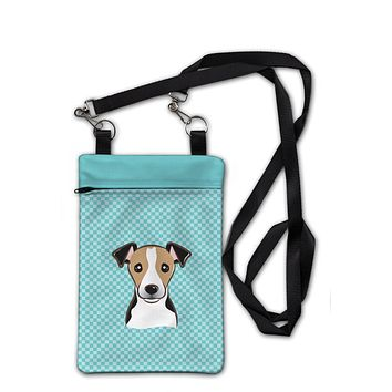 Checkerboard Blue Jack Russell Terrier Crossbody Bag Purse BB1199OBDY
