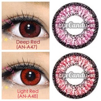 GEO COLOR NINE RED EyeCandy's Circle Lens Cosmetic Big Eye Colored Contacts Lenses
