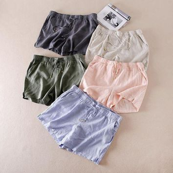 ONETOW Fashion Summer Shorts High Waist Solid Color Drawstring Loose 2017 Shorts Women Linen Fabric Short Shorts Women Plus Size