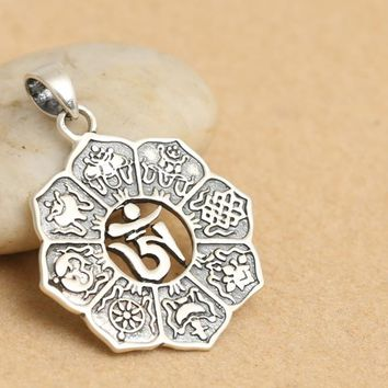 925 Sterling Silver Vintage Buddha Treasure- Eight Gossip Silver Medal Pendant