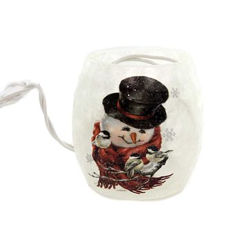 Stony Creek SNOWMAN SMALL LIGHTED GLASS JAR Glass Electric Dgh8252 B
