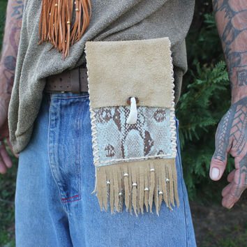 Hip Bag, Costa Rican Boa Snake Skin and Buffalo Leather, Belt Utility Bag, Single Pouch, Fringed Large Medicine Bag