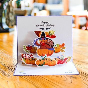 1pcs 3D Greeting Card Creative Pop Up Pumpkin Witch Turkey Thanksgiving Gift Card Thank You Card for Family Kids Friends