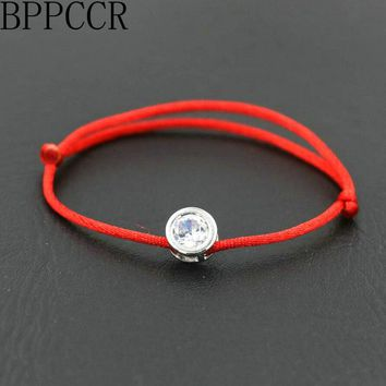 BPPCCR Telescopic Silver Color Women Lucky Bracelets Zircon Crystal Circle Red String Rope Thread Pulseira Free To Adjust