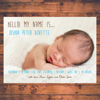 Newborn Baby Announcement Hello My Name Is Birth Details Baby Girl Baby Boy Twin Babies Keepsake Photo Cards Post Card Digital Printable