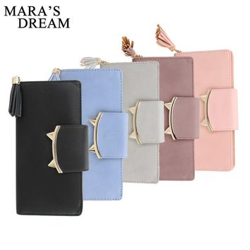 Mara's Dream Design Women PU Leather Wallets Long Tassel Girl Cute Cell phone Card Coin Holder Clutch Purse Lady Burse Money Bag