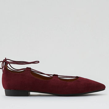 AEO Lace-Up Ballet Flats, Burgundy