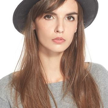 Women's rag & bone Woven Straw Fedora - Black