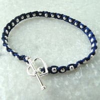 Macrame Beaded Bracelet with Silver Plated Beads and Heart Clasp, Wrap Beaded Bracelet