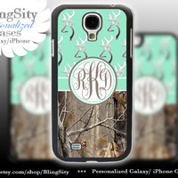 Monogram Galaxy S4 case S5 Browning Mint Real Tree Camo Deer Personalized RealTree Samsung Galaxy S3 Case Note 2 3 Cover