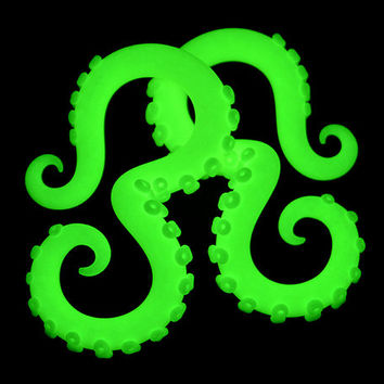 Glow In The Dark Tentacle Earrings, Octopus Ear Plugs & Fake Plugs Fake Gauges, Glow In The Dark Plugs 4g 0g 00g Glow In The Dark Ear Gauges