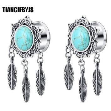 TianciFBYJS 2Pcs Ear Plugs Tunnel Stainless steel Piercing Dream Catcher Bronze Earring Stretcher Flesh Tunnel Body Jewelry