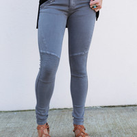 Hello Moto Jeggings [Charcoal]