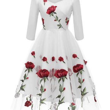 New White Floral Off Shoulder Embroidery Grenadine Pleated Tutu Mexican Elegant Homecoming Party Midi Dress