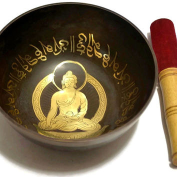 "Large Vintage Tibetan Chakra Singing Bowl , Original COPPER SPIRITUAL Meditation Relaxing Bowl,""Om Mani Padme Hum"" Collectable"