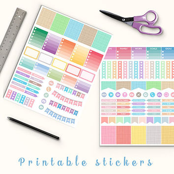 50% OFF Pastel Crosshatch Stickers Printable Planner Stickers Erin Condren Box Stickers Page Flags Weekend Banner To Do Stickers Weekly Kit