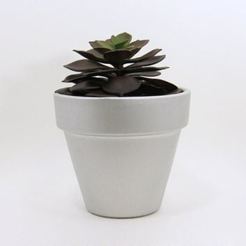 Terracotta Pot, Succulent Planter, Cute Planter, Small Pot, Metallic Silver Planter, Air Plant Holder, Indoor Planter, Succulent Pot