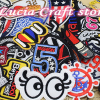 24pcs random assorted Iron-on or Sew-on Embroidered patch Motif Applique D20010001(3-15H24)