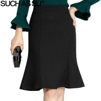 SUCH AS SU New Autumn Winter Mao Ni Skirts Womens Black Knee-Length Ruffles High Waist Skirt S-3XL Size Female Mermaid Skirt