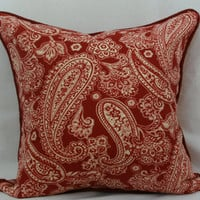 Burgundy & ivory paisley decorative throw pillow with burgundy piped trim. red toss pillow. toss pillow. 20 x 20 pillow. red paisley pillow
