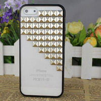 Black transparent Hard Case Cover With Silvery Stud for Apple iPhone5 Case, iPhone 5 Cover,iPhone 5 Case, iPhone 5g