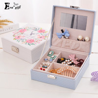 Retro Printing leather Jewelry Box mini organizer with mirror Ring Earrings Necklace storage box Travel makeup case Casket