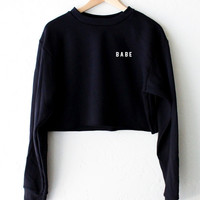 Babe Cropped Sweater - Black