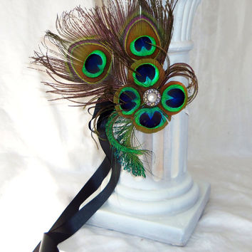 Peacock Feather Bridal Fascinator-1920s flapper- Art Deo Headpiece- Bridesmaid- Hair Accessories- Peacock Feather Great Gatsby