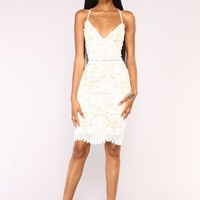 Hidden Garden Midi Dress - White