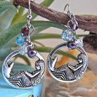 Mermaid Earrings Hawaiian Jewelry made on North Shore, Oahu Hawaii for Beach Brides
