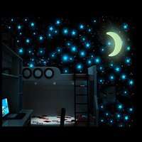 100pcs Glow Wall Stickers with1 pcs Moon Night star Room Decal for Baby Kids Bedroom Home Happy life Luminous Fluorescent DF