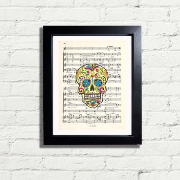 Sugar SKULL 2 Fun Art Print on Antique Vintage Music Paper Page or A3 Reproduction Artwork Wall Hanging Home Decor quirky Gift Idea