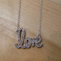 Silver Rhinestone Love Necklace | Candy's Cottage