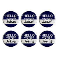Jakob Hello My Name Is Plastic Resin Button Set of 6