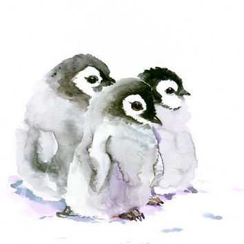 Three Penguins, original watercolor painting 12 X 9 in, nursery wall art, cute penguin painting