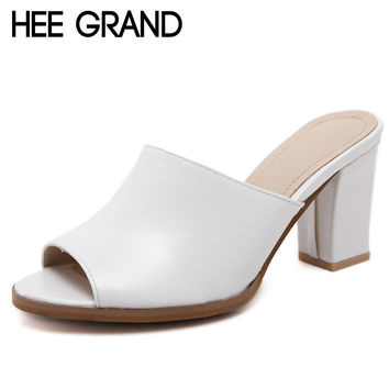 HEE GRAND Peep Toe High Heels 2017 Summer Sandals Casual Shoes Woman Slip On Mules Pumps PU Leather Women Shoes XWZ4187