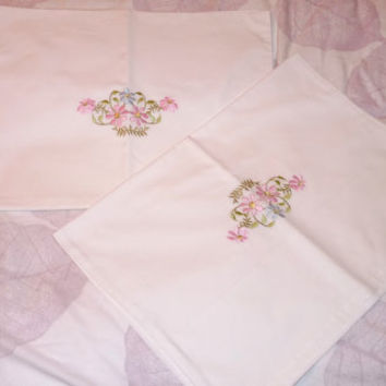 Pair of White Pillowcases, Pink Blue Embroidery, Floral Embroidery, Housewife Pillow Case, Bed Linen, Hand Embroidered, Sheeting, Recycled