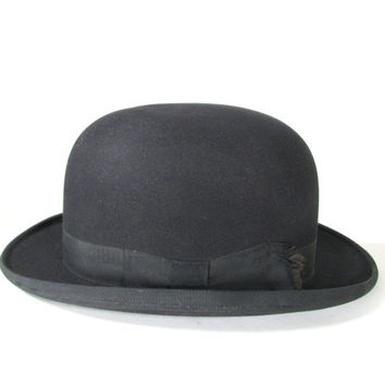 1900s Black Bowler Derby Hat Stetson . Clockwork Orange . Charlie Chaplin . Steampunk Antique