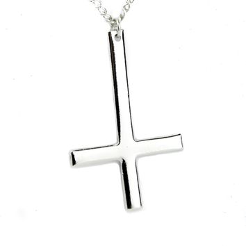 Polished Inverted Unholy Cross Necklace Black Metal Ritual Occult Jewelry