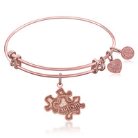 Expandable Bangle in Pink Tone Brass with Autism Awareness Symbol