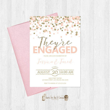 Blush and Gold Engagement Party Invitation Pink and Gold Glitter Invites Announcement Printable Digital File or Prints with Free shipping