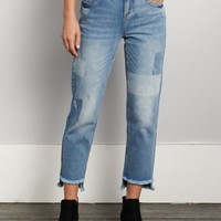 Shadow Patched Frayed High Rise Jean in Regular