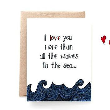 Yellow Daisy Paper Co. - Waves In The Sea Love Card