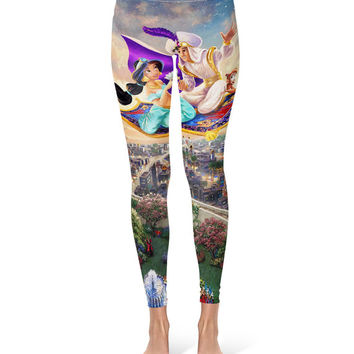 Aladdin Disney Fine Art Painting Princess Jasmine - Leggings in XS-3XL - Sports or Fleece Fabric Leggins - Yoga, Gym, Thick Winter 000679