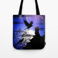 Raven's Haunted Castle Tote Bag by bluedarkatlem