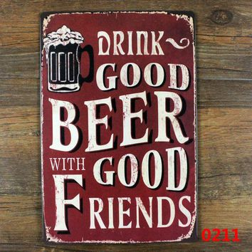 Bear metal sign vintage home bar decoration Tin signs retro painting Drink Good Beer with good friends sign beer