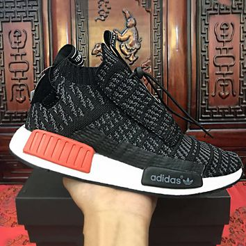 Adidas NMD Knit High Tops Black Double tongue Fashion Trending Running Sports Shoes